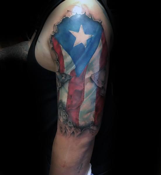 50 Puerto Rican Flag Tattoo Ideas For Men - Puerto Rico