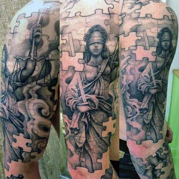 Male Puzzle Tattoo Designs Full Sleeve