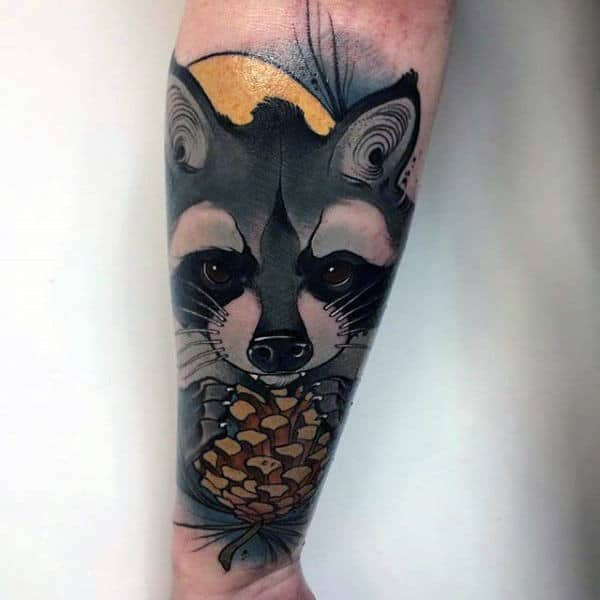 Male Raccoon Neo Traditional Pine Cone Forearm Sleeve Tattoo