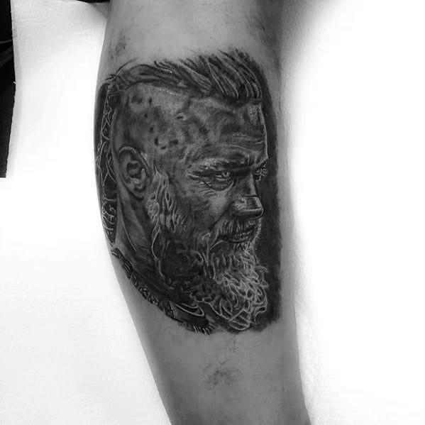 Male Ragnar Tattoo Design Inspiration On Leg Calf