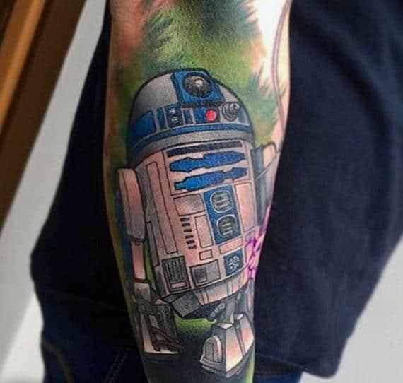 Male Rd2d Arm Sleeve Tattoo Design Inspiration