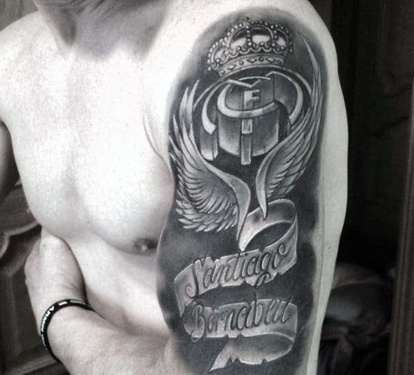 Male Real Madrid Tattoo Ideas Half Sleeve With Banner Design