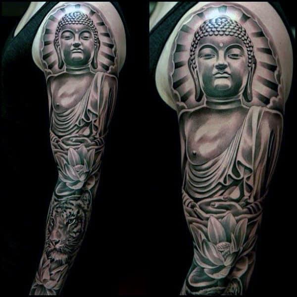 Male Realistiic Buddha Tattoo On Full Arms