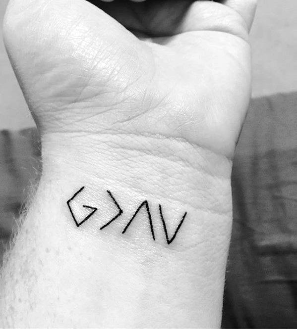Male Religious Wrist Tattoo With God Is Greater Than The Highs And Lows Design
