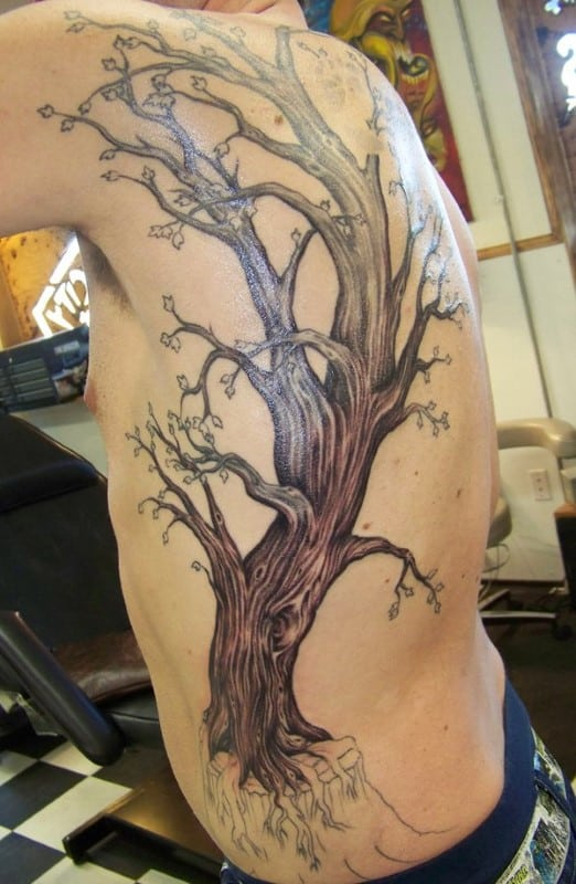 Male Rib Cage And Back Tree Tattoo Design Inspiration For Guys