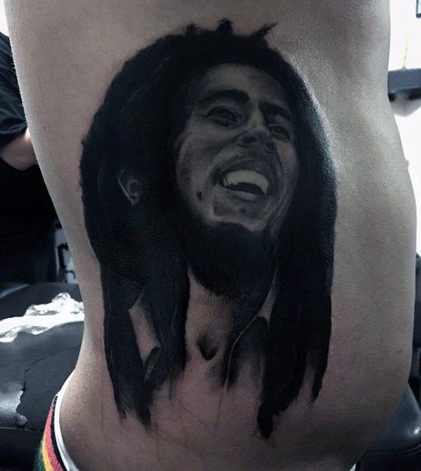 Male Rib Cage Side Bob Marley Tattoo Ideas