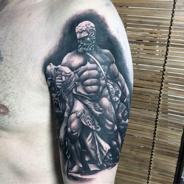 Male Roman Statue Tattoo On Arm