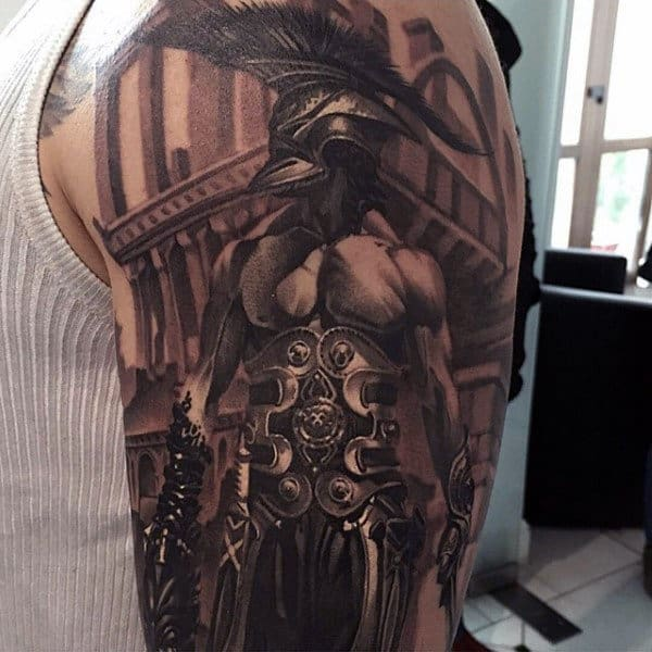 Male Roman Warriior Black Ink Arm Tattoo