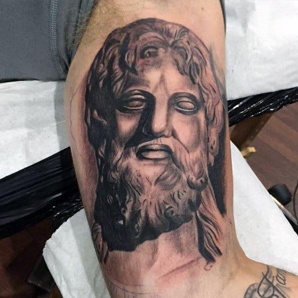 Male Roman Zeus Tattoo Designs On Bicep