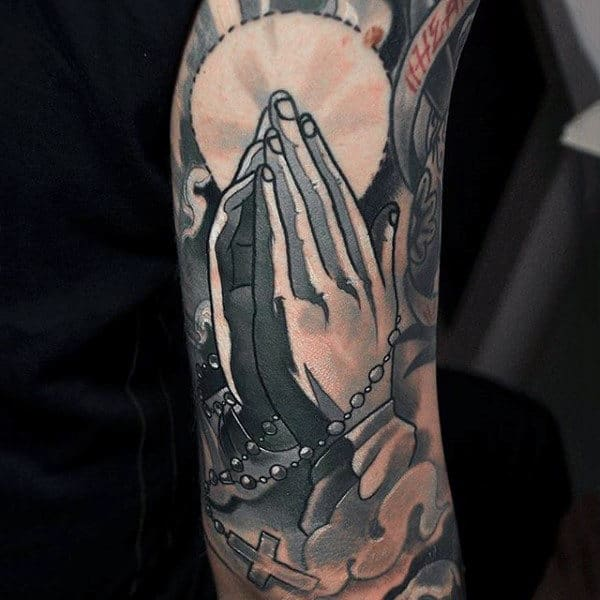 Male Rosary Beads Tattoo On Arm Sleeve Design With Praying Hands
