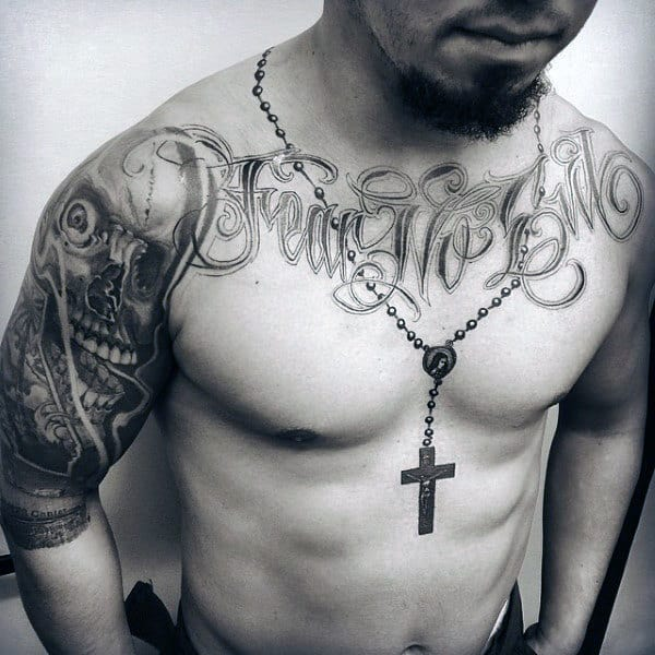 Male Rosary Tattoo Around Neck