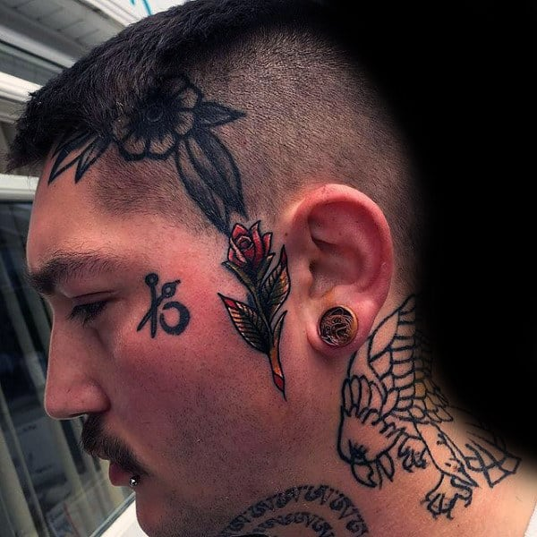 Male Rose Flower Face Tattoo With Old School Design