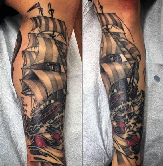 Male Sailboat Leg Sleeve Tattoo