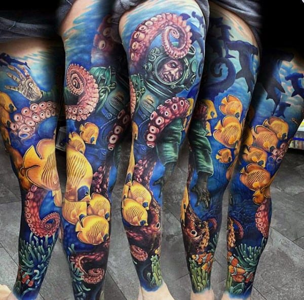 Male Salt Water Tattoos Full Sleeve Design With Fish