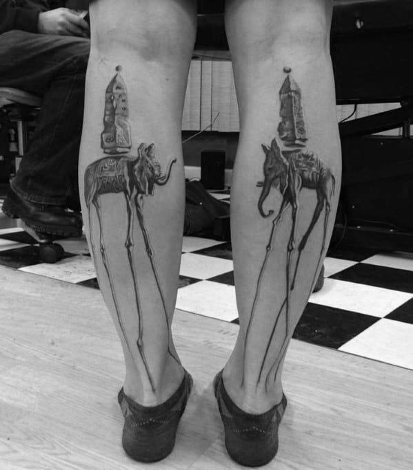 Male Salvador Dali Elephant Back Of Legs Tattoo Design Inspiration