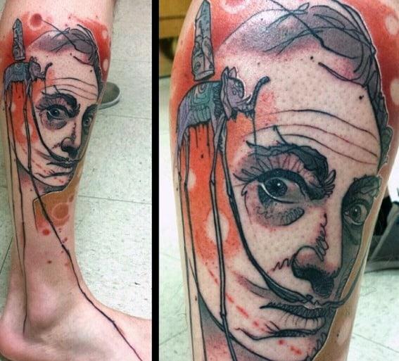 Male Salvador Dali Elephant Leg Tattoo Ideas