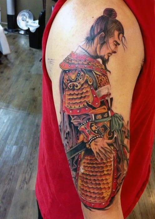 Male Samurai Head Tattoo