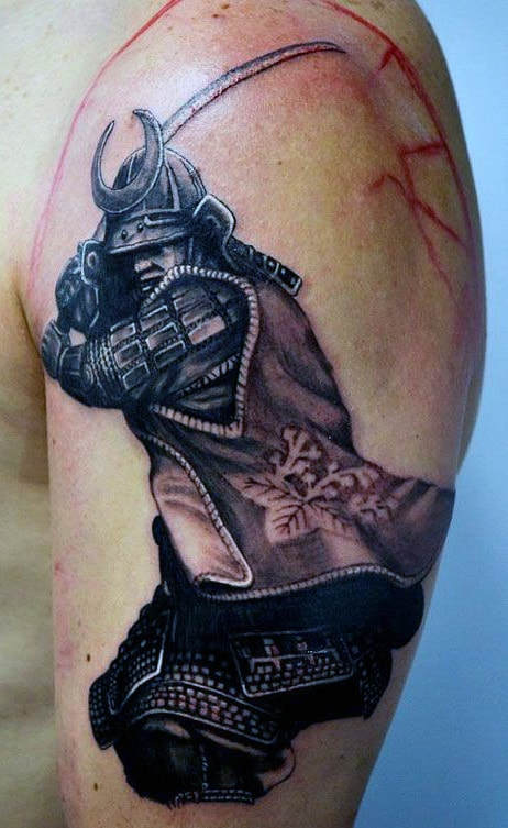 Male Samurai Warrior Arm Tattoo