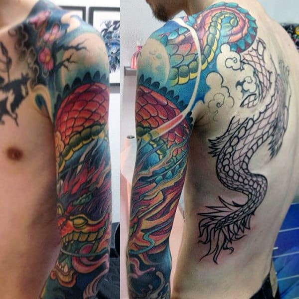 Male Sea Dragon Tattoo Full Sleeves