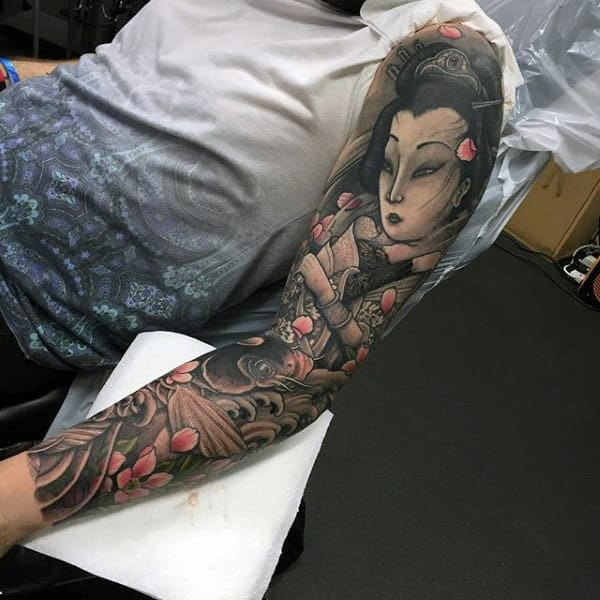 Male Sensual Geisha Japanese Sleeve Tattoo