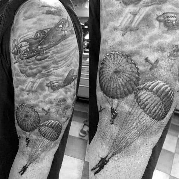 Male Shaded Black And Grey Shaded Arm Parachute Tattoo Ideas