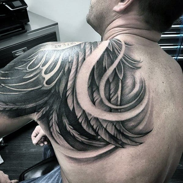 Male Shaded Unique Back Wing Tattoo With Negative Space Design