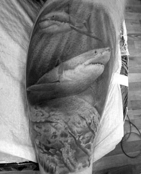 Male Shark Face Tattoo