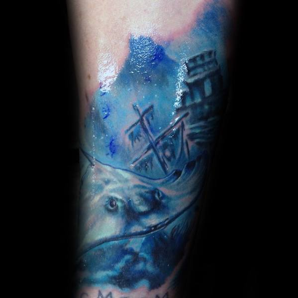Male Shipwreck Forearm Tattoo Design Inspiration