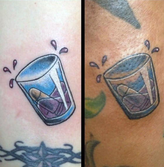 Male Shot Glass Themed Tattoo Inspiration