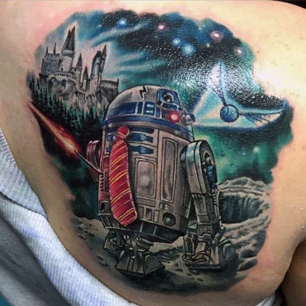 Male Shoulder Artoo Detoo Tattoo Design Inspiration