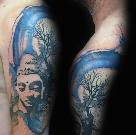 Male Shoulder Calm Buddha Watercolor Tattoo
