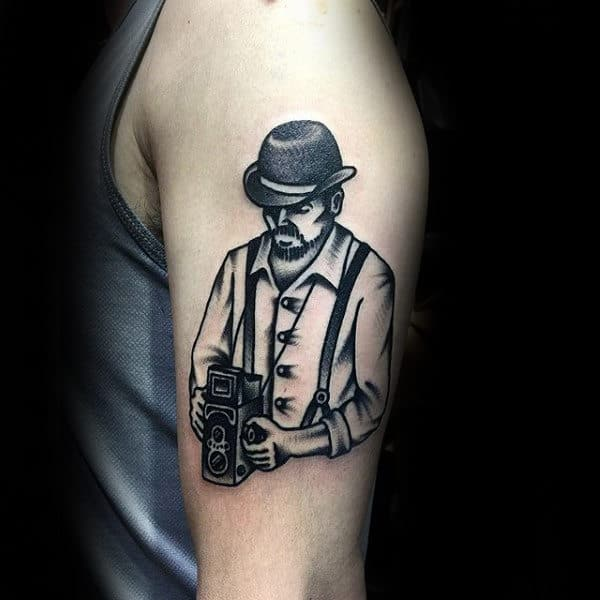 Male Shoulder Guy Holding Camera Tattoo