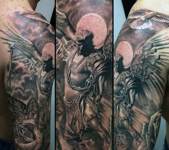 Male Shoulders Brilliant Guardian Angel Tattoo