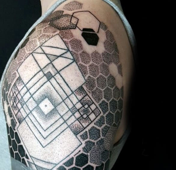 Male Shoulders Honeycomb And Geometric Lined Sketch Tattoo