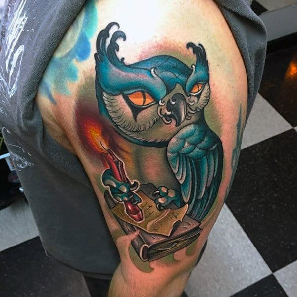 Male Shoulders Large Blue Owl With Candle And Book Tattoo