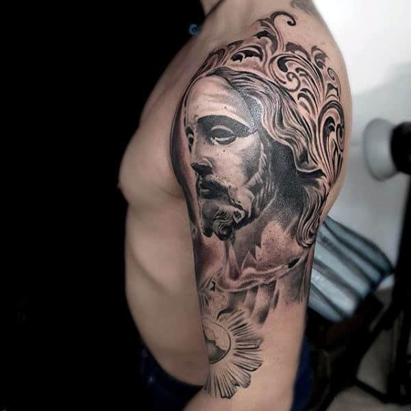 Male Shoulders Religious God Tattoo