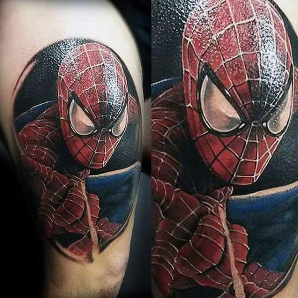 Male Shoulders Shiny Spiderman Tattoo