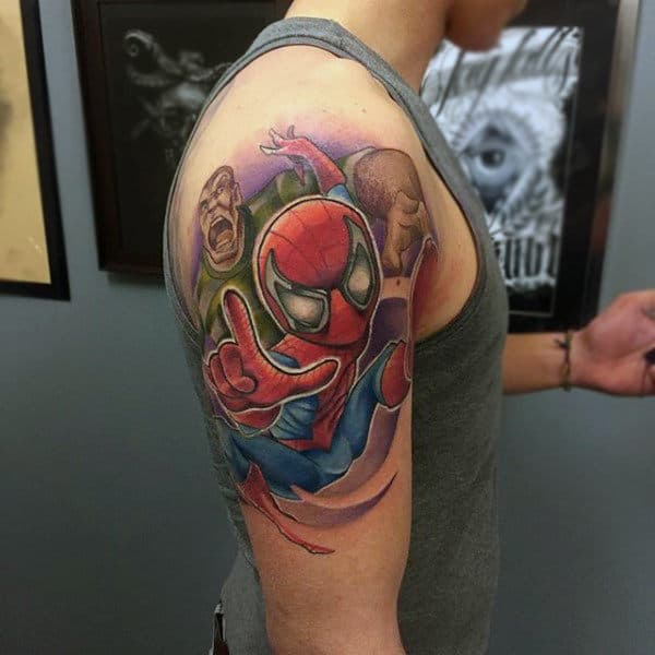 Male Shoulders Spiderman Tattoo