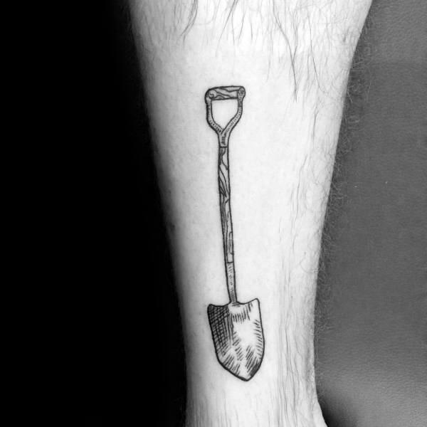 Male Shovel Themed Tattoo Inspiration