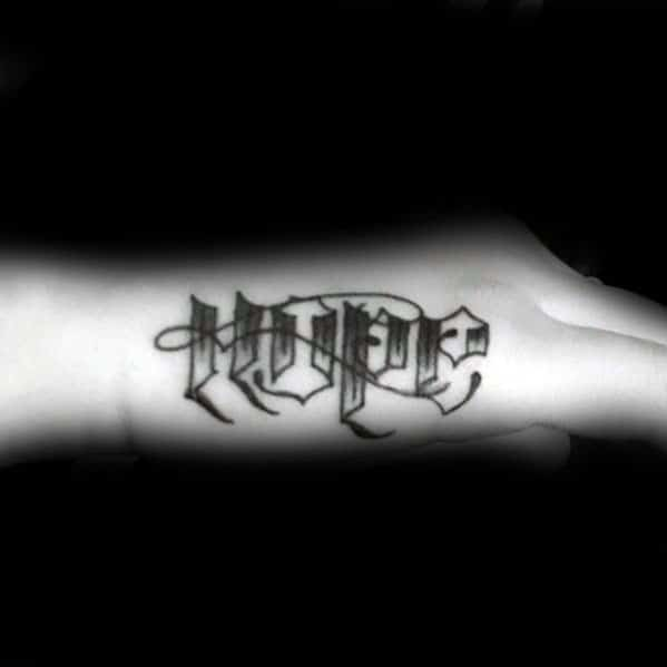 Male Side Hand Hope Word Tattoo Design Inspiration