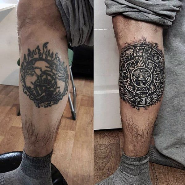 Male Side Of Leg Cover Up 3d Mayan Calender Tattoo Design Inspiration