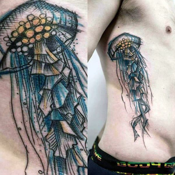 Male Side Ribs Jellyfish Tattoo