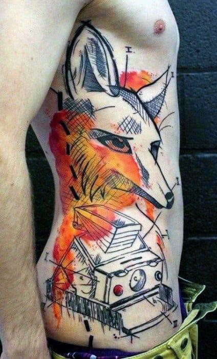 Male Side Ribs Modern Art Fox Tattoo