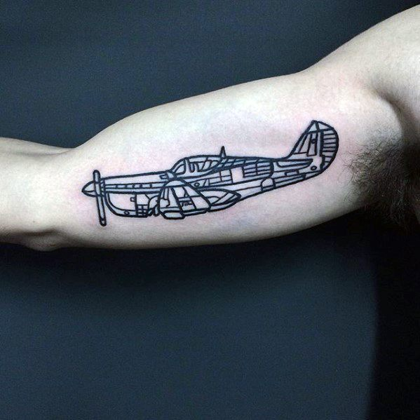 Male Simple Arm Flying Outline Plane Tattoo Designs
