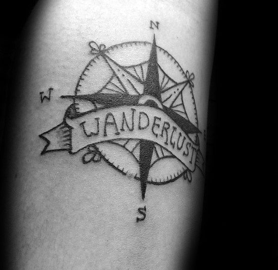 Male Simple Compass Themed Tattoo Inspiration