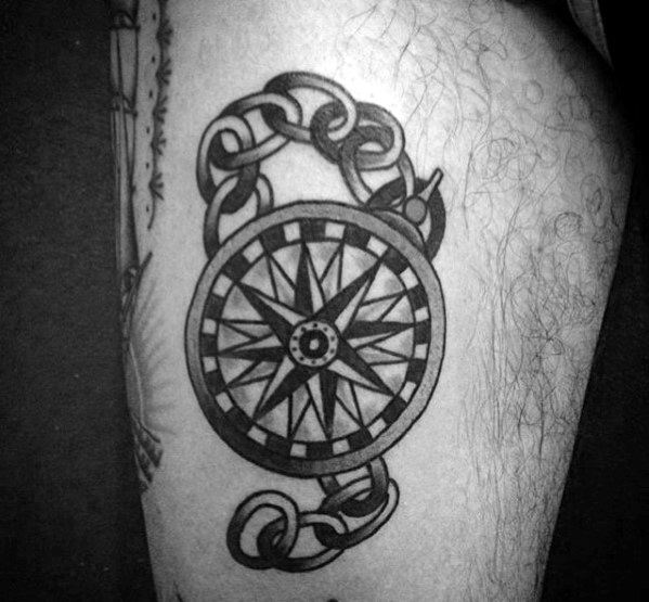Male Simple Compass Traditional Themed Thigh Tattoos