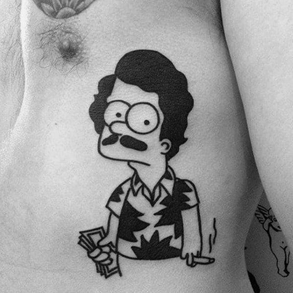 Male Simpsons Themed Tattoo Inspiration On Rib Cage