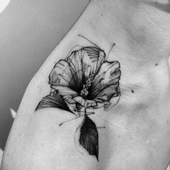 Male Sketch Flower Shoulder Tattoo Design Inspiration