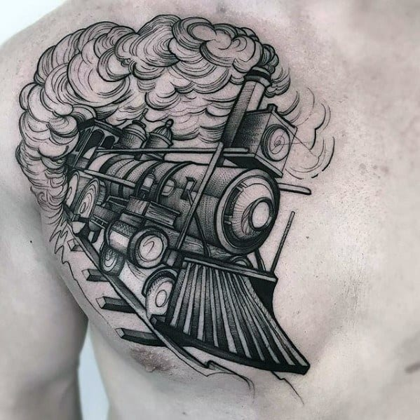 Male Sketch Train Tattoo Ideas On Chest