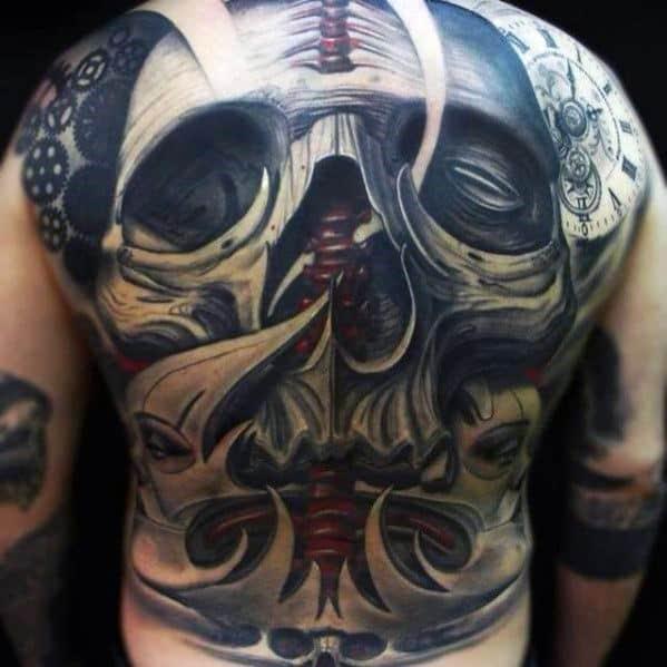 Male Skull Back Tattoo Ideas